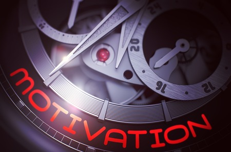Motivation on Automatic Pocket Watch Mechanism. 3D. Stock Photo