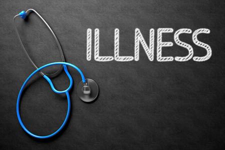dolor: Illness - Text on Chalkboard. 3D Illustration. Stock Photo