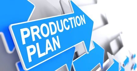 Production Plan - Text on Blue Arrow. 3D.