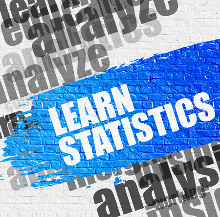 Education Concept: Learn Statistics. Blue Message on White Wall. Learn Statistics - on the White Brick Wall with Word Cloud Around. Modern Illustration.