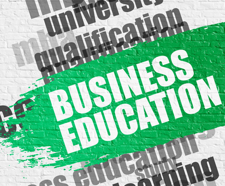 Education Concept: Business Education - on White Brickwall with Wordcloud Around. Modern Illustration. Business Education on Green Paintbrush Stripe. Stock Photo