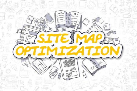 icons site search: Site Map Optimization Doodle Illustration of Yellow Word and Stationery Surrounded by Doodle Icons. Business Concept for Web Banners and Printed Materials.