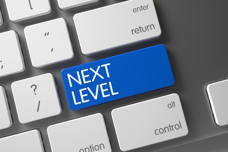 Next Level Concept White Keyboard with Next Level on Blue Enter Key Background, Selected Focus. 3D Render. Stock Photo