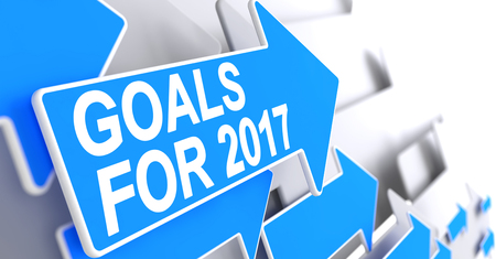 Goals For 2017 - Text on the Blue Pointer. 3D.