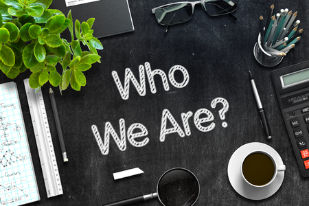 Who We Are Concept on Black Chalkboard. 3D Rendering. Stockfoto