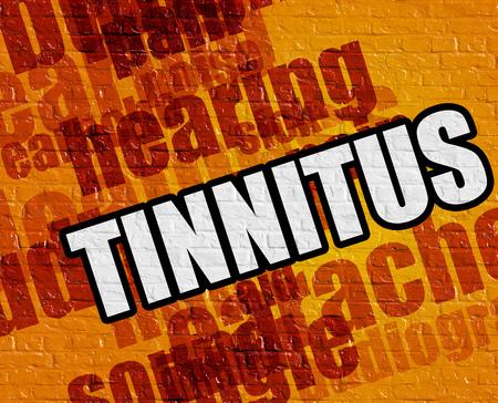 Healthcare concept: Tinnitus on Yellow Brickwall .