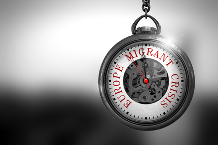 Europe Migrant Crisis on Vintage Watch. 3D Illustration. Stock Photo