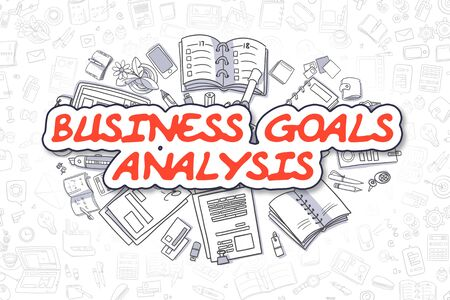 weaknesses: Business Goals Analysis - Doodle Red Text. Business Concept. Stock Photo