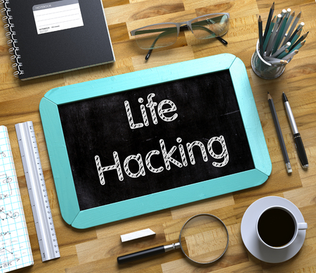 Small Chalkboard with Life Hacking Concept. 3D. Stock Photo