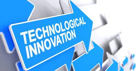 Technological Innovation - Message on Blue Arrow. 3D.