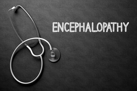 deficiencies: Medical Concept: Top View of White Stethoscope on Black Chalkboard with Medical Concept - Encephalopathy. Medical Concept: Encephalopathy on Black Chalkboard. 3D Rendering. Stock Photo