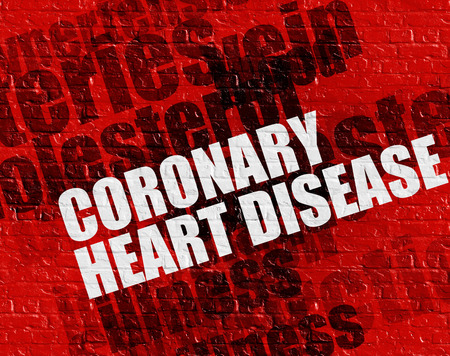 Modern healthcare concept: Coronary Heart Disease - on Wall with Word Cloud Around . Coronary Heart Disease on the Red Brick Wall .