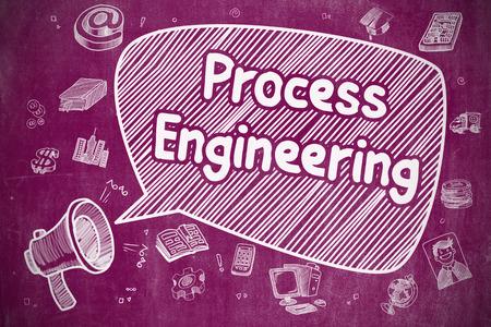 shrieking: Shrieking Horn Speaker with Text Process Engineering on Speech Bubble. Hand Drawn Illustration. Business Concept. Stock Photo