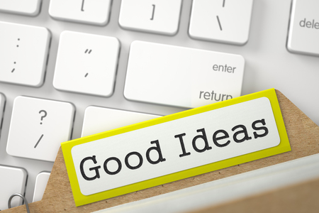 Good Ideas written on Yellow Index Card on Background of White PC Keyboard. Closeup View. Blurred Illustration. 3D Rendering. Stock Illustration - 78097894