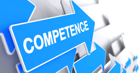 Competence - Blue Pointer with a Inscription Indicates the Direction of Movement. Competence, Text on Blue Cursor. 3D Illustration.
