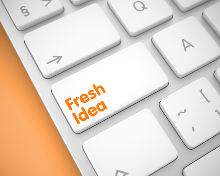 answer: Conceptual Keyboard with Fresh Idea White Keypad. Online Service Concept: Fresh Idea on Modern Computer Keyboard lying on the Orange Background. 3D Illustration.