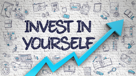 Invest In Yourself - Development Concept with Doodle Design Icons Around on the White Brick Wall Background. Brick Wall with Invest In Yourself Inscription and Blue Arrow. Improvement Concept. 3D.