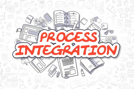 unification: Business Illustration of Process Integration. Doodle Red Word Hand Drawn Cartoon Design Elements. Process Integration Concept.