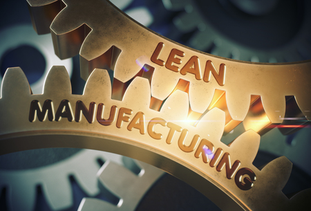 overproduction: Lean Manufacturing - Illustration with Lens Flare. Golden Metallic Gears with Lean Manufacturing Concept. 3D Rendering.