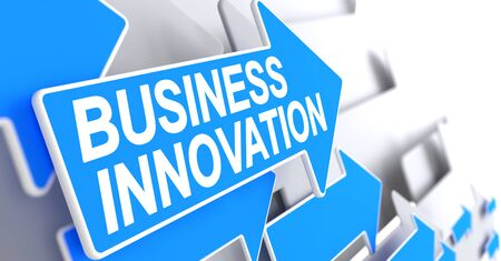 Business Innovation, Label on Blue Cursor. Business Innovation - Blue Arrow with a Label Indicates the Direction of Movement. 3D Render. Stock Photo