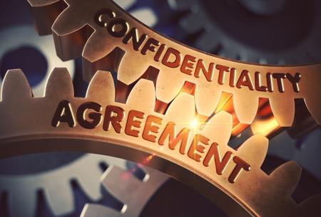 Entente de confidentialité - Concept. Entente de confidentialité Golden Cogwheels métalliques. Rendu 3D. Banque d'images
