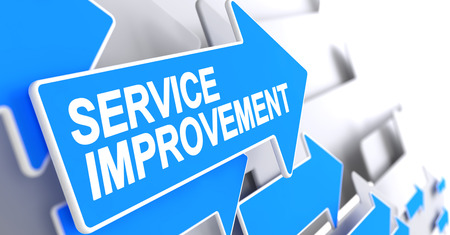 Service Improvement - Blue Pointer with a Message Indicates the Direction of Movement. Service Improvement, Message on the Blue Pointer. 3D Illustration. Banco de Imagens
