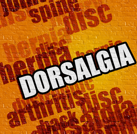 dorsalgia: Health concept: Dorsalgia - on Brick Wall with Word Cloud Around . Yellow Brick Wall with Dorsalgia on the it . Stock Photo
