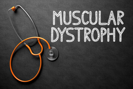 myopathy: Medical Concept: Muscular Dystrophy - Text on Black Chalkboard with Orange Stethoscope. Medical Concept: Muscular Dystrophy - Medical Concept on Black Chalkboard. 3D Rendering.