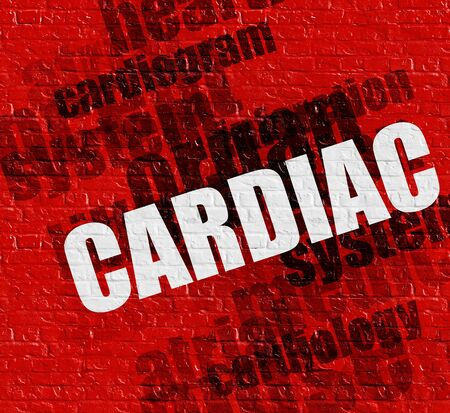 Healthcare concept: Red Brickwall with Cardiac on the it . Cardiac - on the Brickwall with Word Cloud Around . Stock Photo