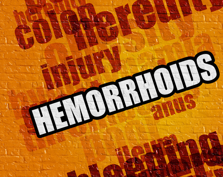 rectum: Modern health concept: Yellow Brickwall with Hemorrhoids on the it . Hemorrhoids - on the Brick Wall with Wordcloud Around .