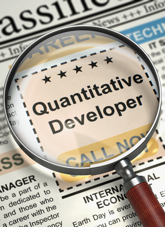 Quantitative Developer Wanted. 3D. Stock Photo