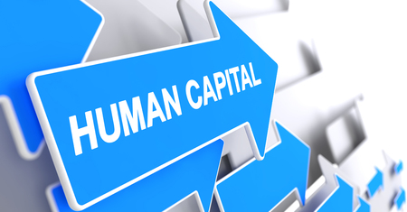 Human Capital, Label on Blue Arrow. Human Capital - Blue Arrow with a Message Indicates the Direction of Movement. 3D Render. Banco de Imagens