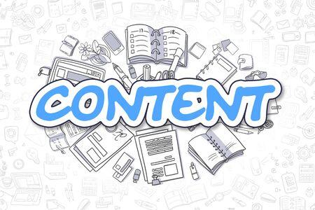 Content - Doodle Blue Word. Business Concept.