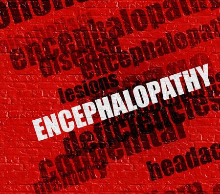 Modern health concept: Encephalopathy on Red Brickwall . Stock Photo