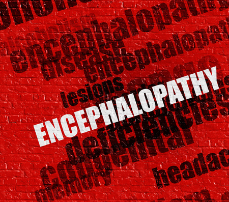 acquired: Modern health concept: Encephalopathy on Red Brickwall . Stock Photo