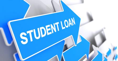 post secondary schools: Student Loan - Text on Blue Arrow. 3D. Stock Photo