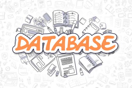 documentation: Database - Doodle Orange Word. Business Concept. Stock Photo
