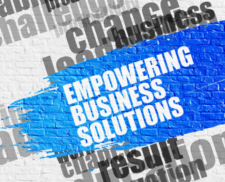 Empowering Business Solutions on White Wall.