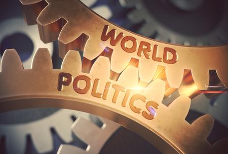 World Politics on the Golden Cogwheels. 3D Illustration. Stock Photo
