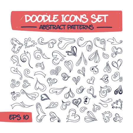 Doodle Icons Set - Abstract Hearts Pattern.