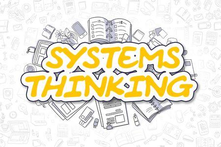 Systems Denken - Cartoon Gelb Wort. Geschäftskonzept. Lizenzfreie Bilder