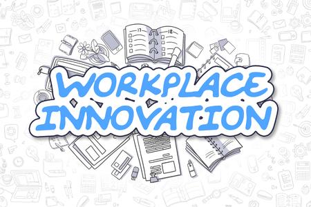Workplace Innovation - Doodle Blue Word. Business Concept. Lizenzfreie Bilder