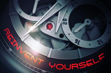 Reinvent Yourself auf Luxus Armbanduhr Mechanismus. 3D Lizenzfreie Bilder