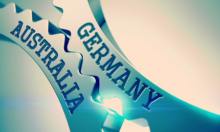 Germany Australia - Mechanism of Metal Cogwheels. 3D.
