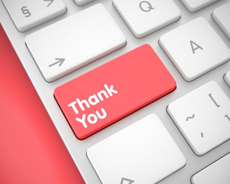 Danke - Mitteilung auf rotem Tastatur-Tastatur. 3D Lizenzfreie Bilder