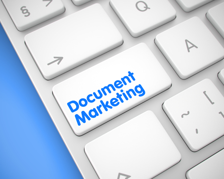 Document Marketing - Text on the White Keyboard Key. 3D.