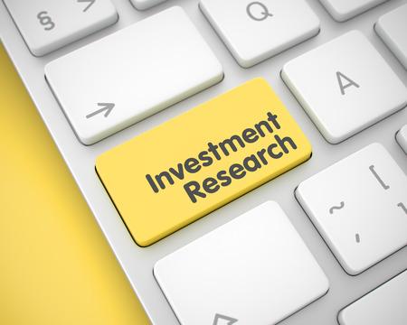 Investment Research - Nachricht auf gelber Keyboard Key. 3D Lizenzfreie Bilder