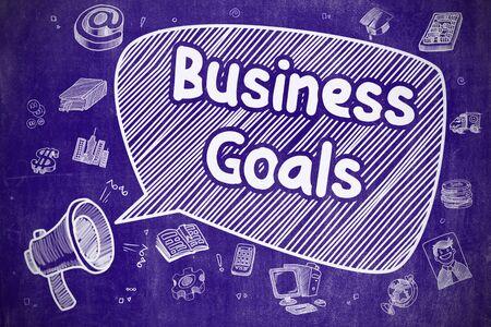 Business-Ziele - Doodle Illustration auf Blue Chalkboard. Lizenzfreie Bilder