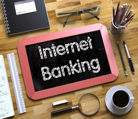 Internet Banking - Text auf kleiner Tafel. 3D Lizenzfreie Bilder