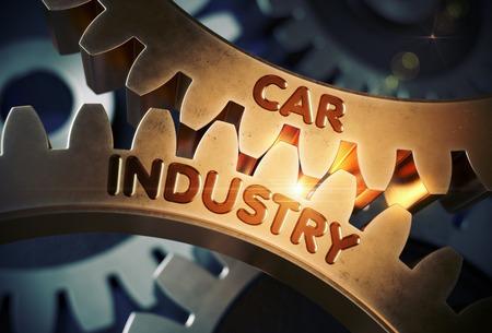 Goldene Zahnräder mit Auto-Industrie-Konzept. 3D Abbildung.